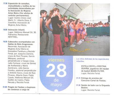 PROGRAMA DE FIESTAS ACTUR: VIERNES 28 DE MAYO