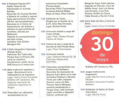 PROGRAMA DE FIESTAS ACTUR: DOMINGO 30 DE MAYO