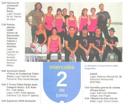 PROGRAMA DE FIESTAS ACTUR: MIERCOLES 2 DE JUNIO