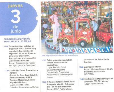 PROGRAMA DE FIESTAS ACTUR: JUEVES 3 DE JUNIO