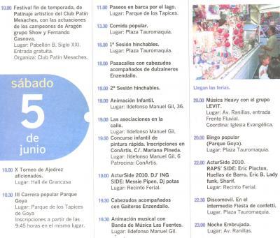 PROGRAMA DE FIESTAS ACTUR: SABADO 5 DE JUNIO