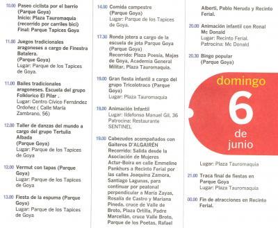 PROGRAMA DE FIESTAS ACTUR: DOMINGO 6 DE JUNIO